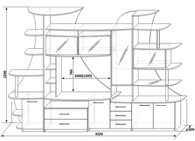 Стенка для гостиной чертежи 5